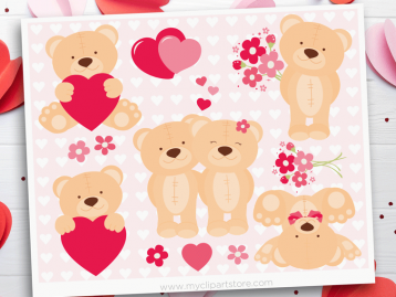 Valentine Teddy Bears clipart