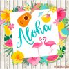 Tropical Flamingos Clipart