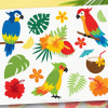 Tropical Parrots Clipart