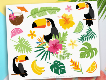 Tropical Toucans Clipart