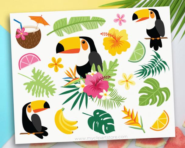 Tropical Toucans Clipart