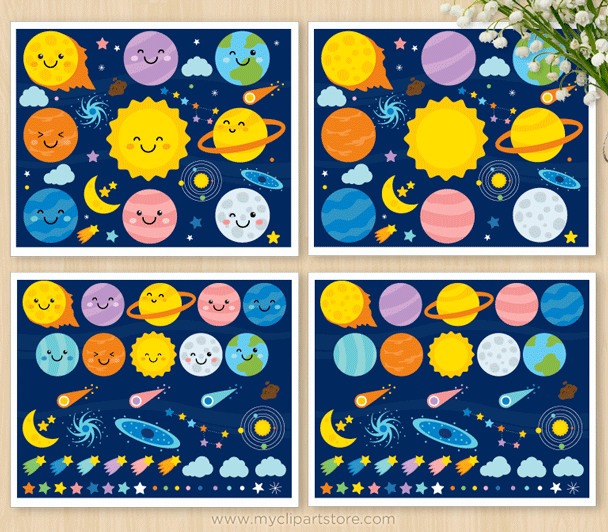 Solar System Scrapbook Clipart