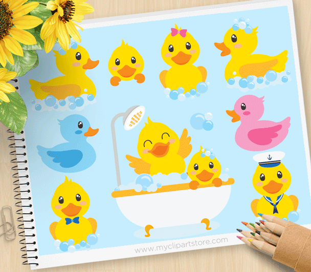 Bath Time Ducky Clipart