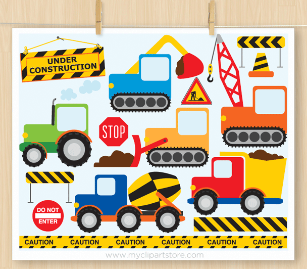 Construction Vehicles Primary clipart