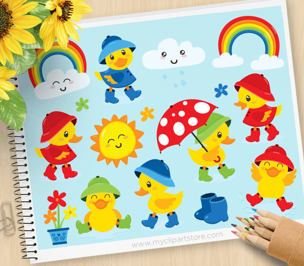 Rainy Day Ducky Clipart