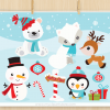 Christmas Animals Vector Clipart