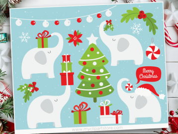 Christmas White Elephant Clipart