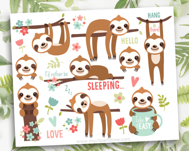 Cute Sloths Clipart