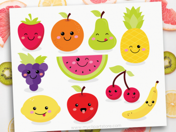 Cute Fruit Kawaii Clipart