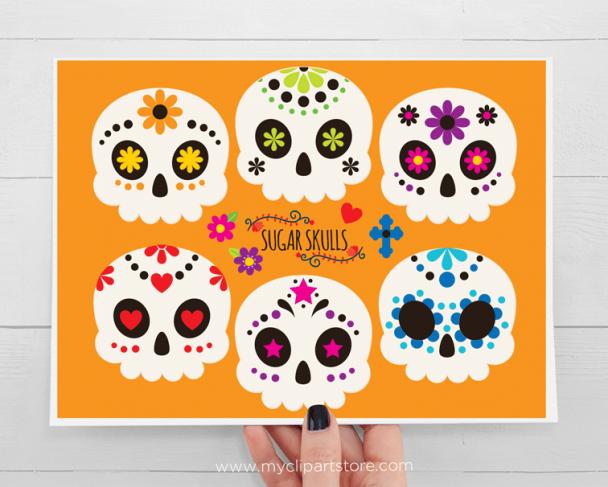 Sugar Skulls Vector Clipart