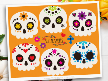 Sugar Skulls Vector Clipart