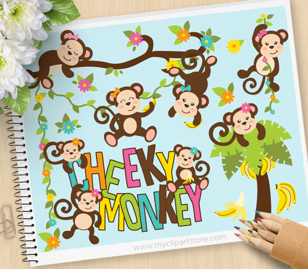 Cheeky Monkey Vector Clipart,