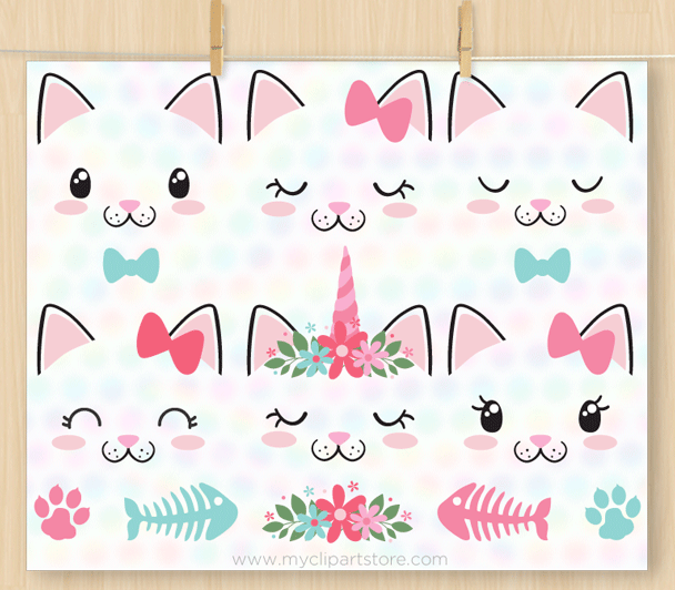 Cat Face Stamps Clipart
