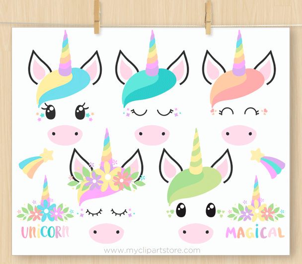Unicorn Face Stamps Clipart