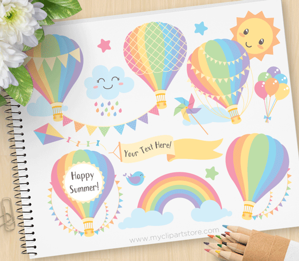 Hot Air Balloons Pastels Clipart