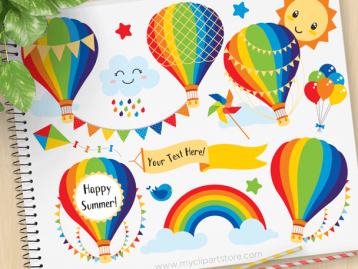 Hot Air Balloons Primary Colors Clipart