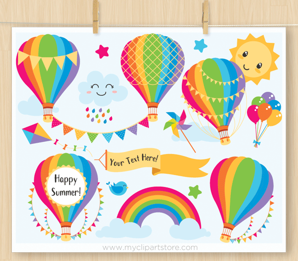 Hot Air Balloons Rainbow Colors Clipart
