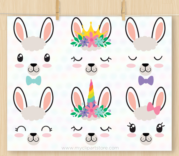 Llama Face Stamps Clipart