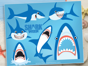 Sharks Week Vector Clipart