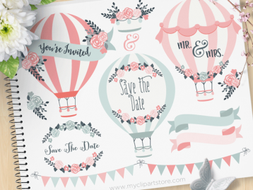 Hot Air Balloons Wedding Clipart
