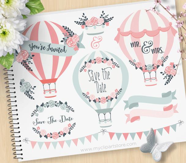 Hot Air Balloons Wedding Clipart
