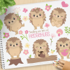 Cute Hedgehogs Vector Clipart