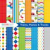 Trains Planes Trucks Digital Paper
