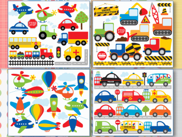 Transportation Clipart Bundle