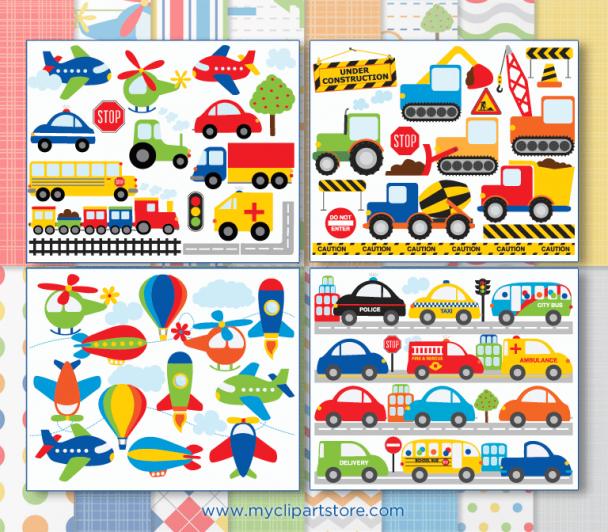 Transportation Clipart Bundle
