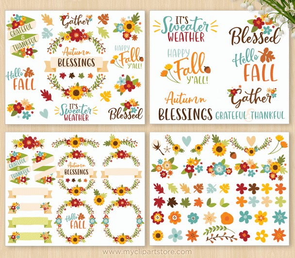 Fall Flowers Vector Clipart