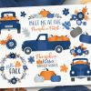 Navy Blue Pumpkin Truck Clipart