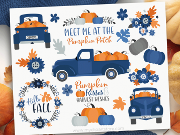 Navy Blue Pumpkin Truck Clipart