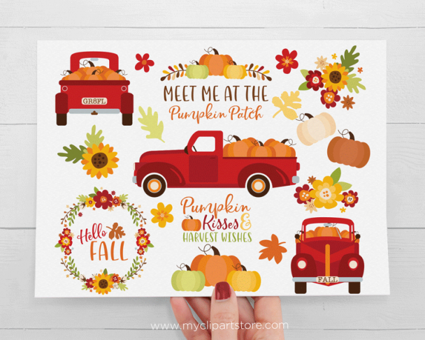 Red Pumpkin Truck Clipart