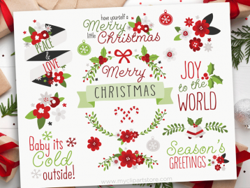 Christmas Flowers Clipart