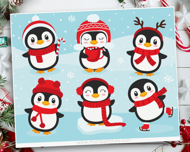 Christmas Penguins Vector Clipart