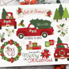 Christmas Truck Red Vector Clipart