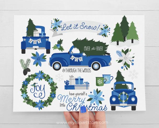 Christmas Truck Navy