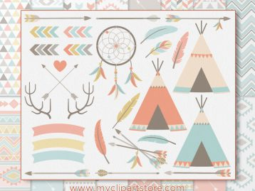 Bohemian Tribal Elements Vector Clipart