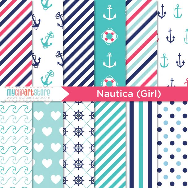 Nautical Girl Digital Paper