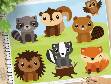 Forest Animals (set 2) Vector Clipart