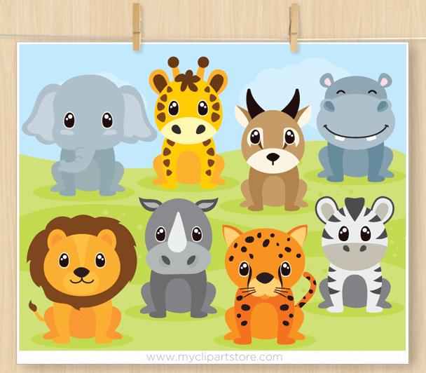 Safari Animals Vector Clipart (set 2)