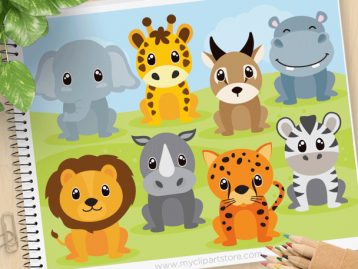 Safari Animals Vector Clipart (set 2)