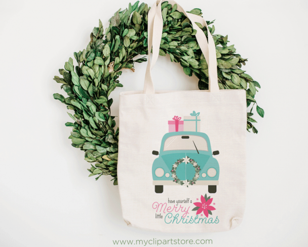 Christmas car Mint Vector Clipart