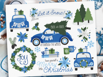 Christmas Car Navy Blue Clipart