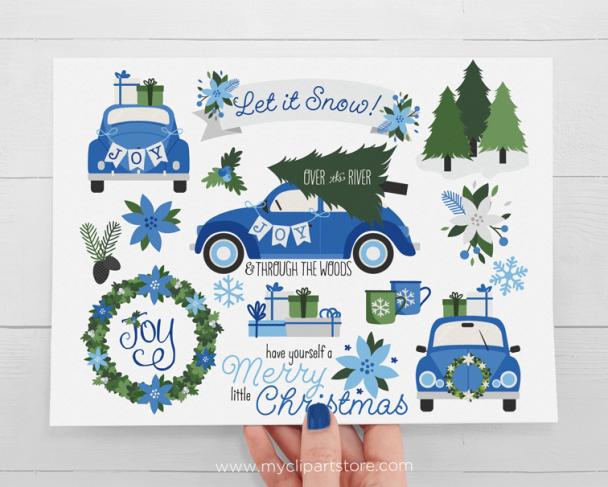 Christmas CarNavy Blue Clipart