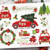 Christmas Car Red Vector Clipart
