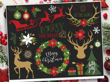 Christmas Elements 1 Vector Clipart