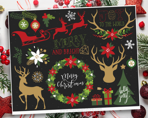 Christmas Elements 1 Vector Clipart