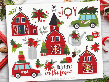 Christmas Farmhouse Clipart