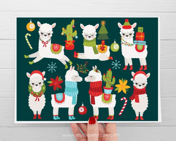 Christmas Llama Vector Clipart